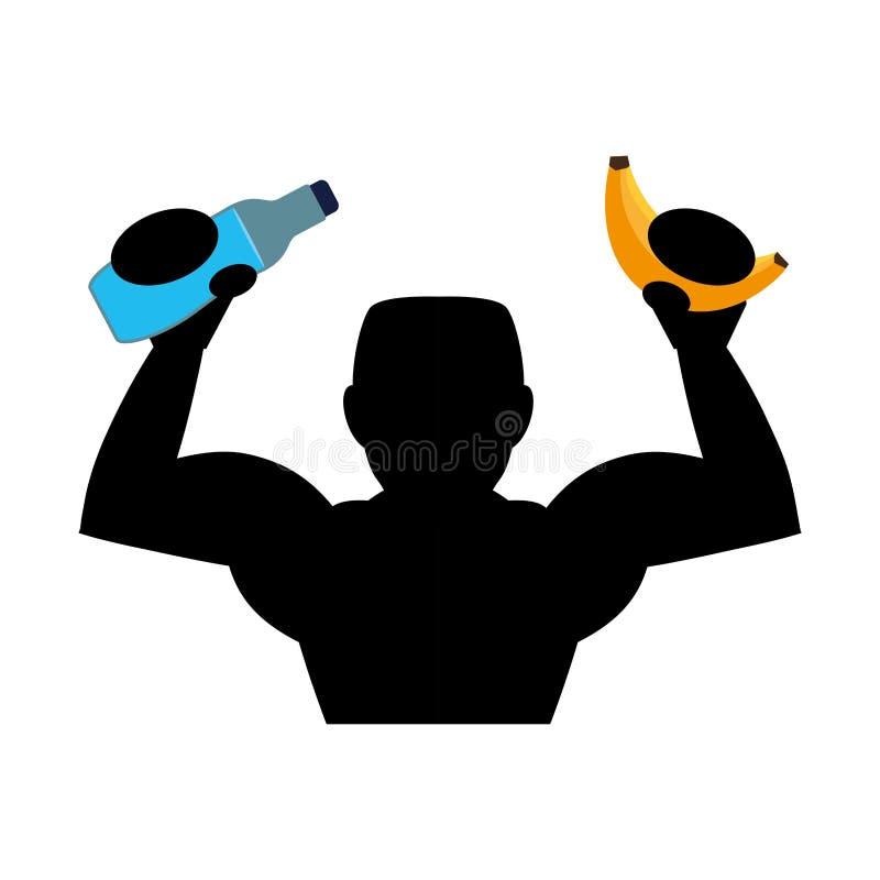 Garrafa de água e banana de levantamento da silhueta do halterofilista ilustração royalty free