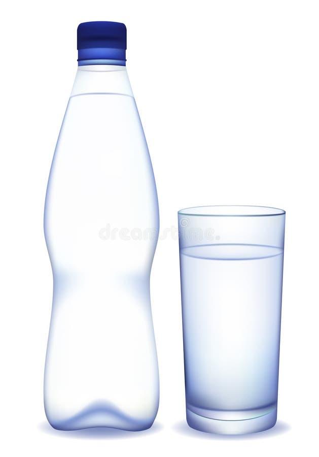 Garrafa de água e vidro ilustração do vetor