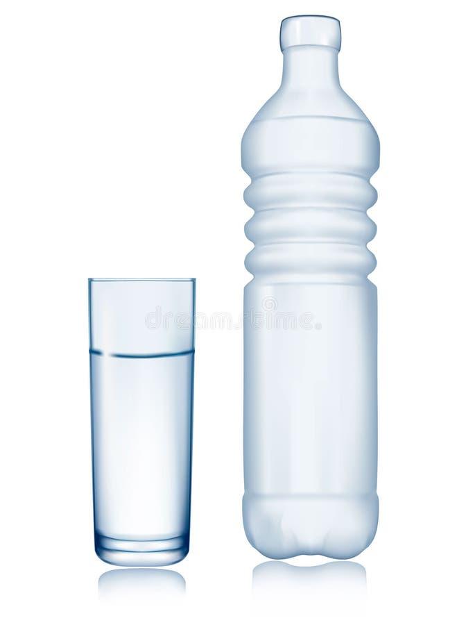 Garrafa de água e vidro. ilustração do vetor