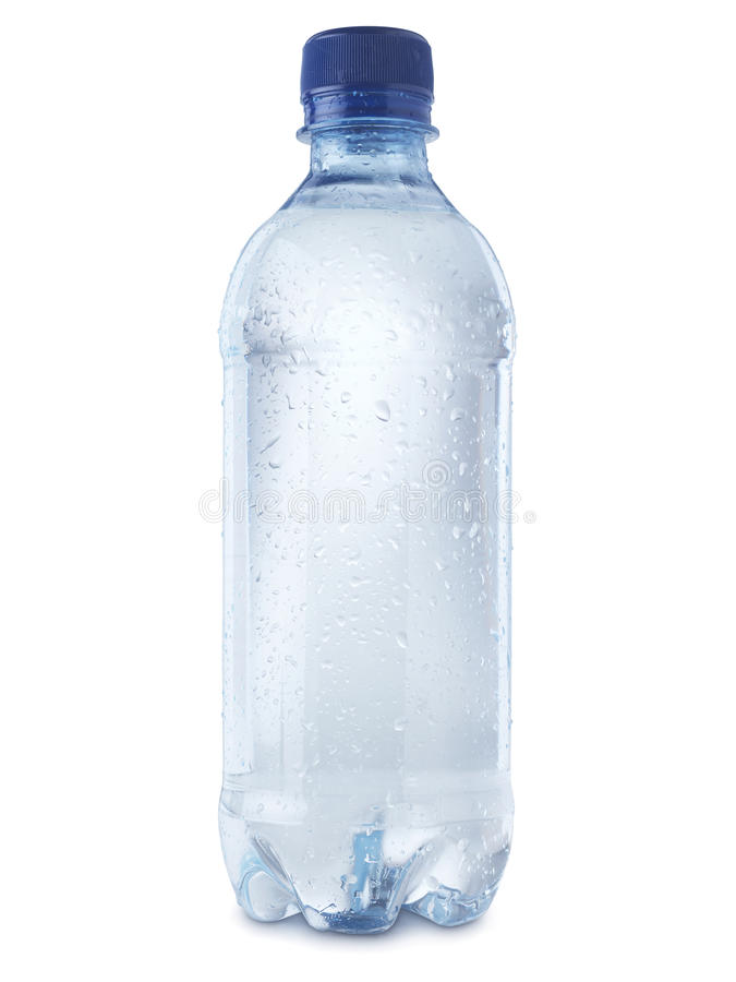 A garrafa de água mineral cortou no branco - imagem conservada em estoque fotografia de stock royalty free
