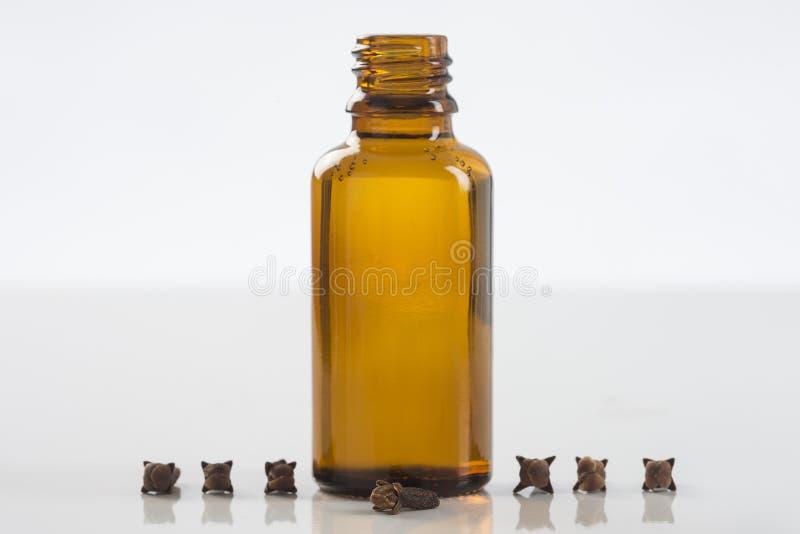 Garrafa de óleo dos cravos-da-índia imagem de stock royalty free