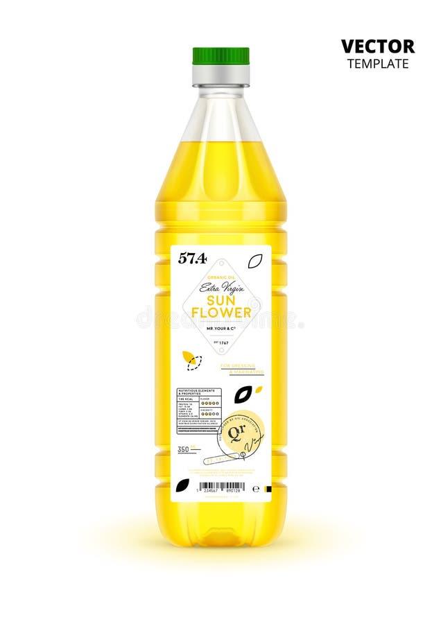 Garrafa de óleo virgem extra realística do girassol ilustração stock