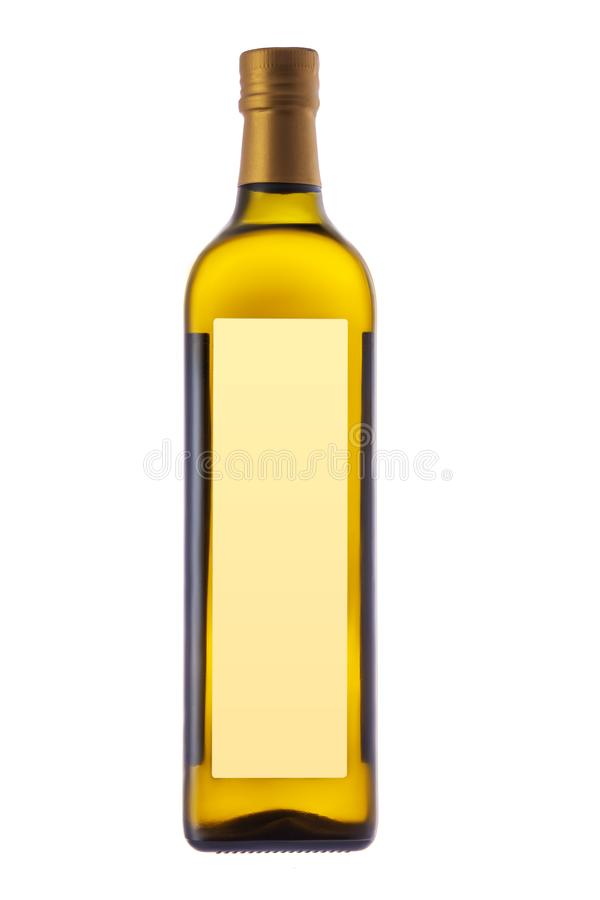 Garrafa de azeite virgem extra para a salada e cozimento isolado no fundo branco imagem de stock