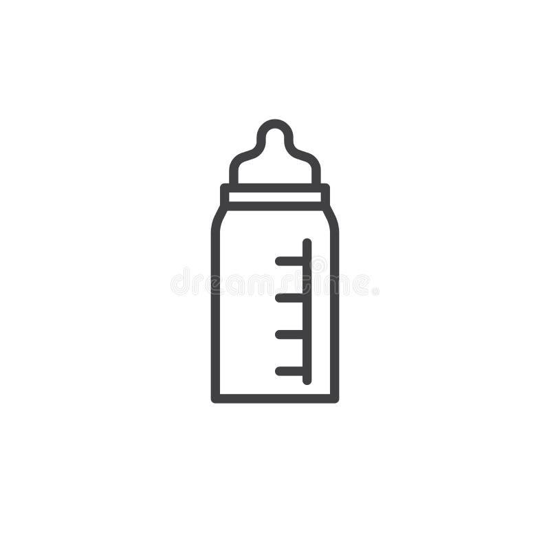 Garrafa de bebê com linha ícone da chupeta ilustração do vetor