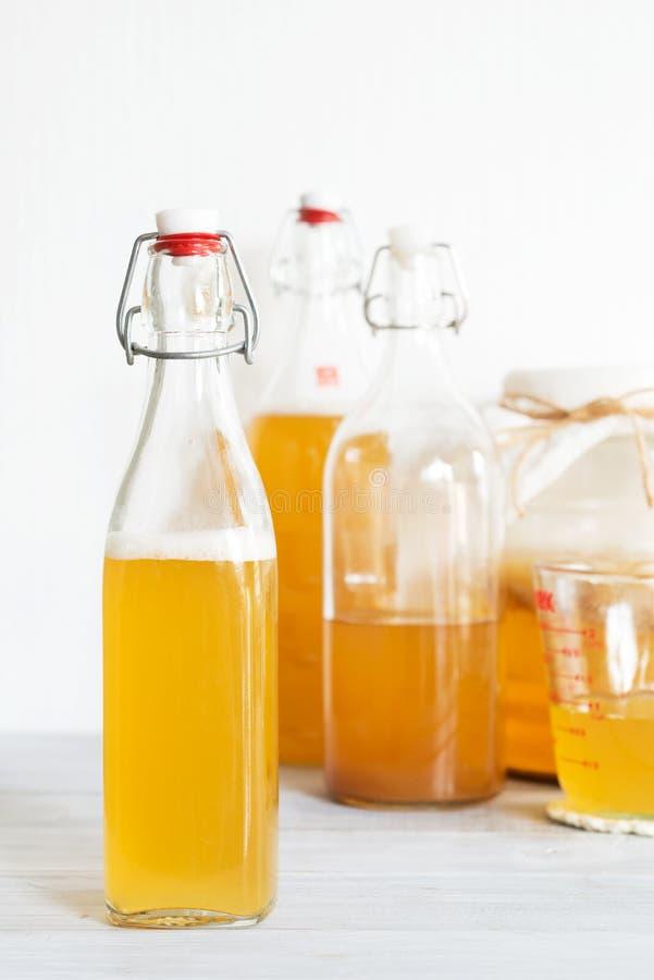 Garrafa de bebidas probióticos naturais saudáveis do chá de junho imagem de stock royalty free