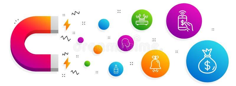 Garrafa de Bell, de uísque e grupo principal dos ícones Pagamento do telefone, de saco de Wifi e de dinheiro sinais Sinal de alar ilustração stock