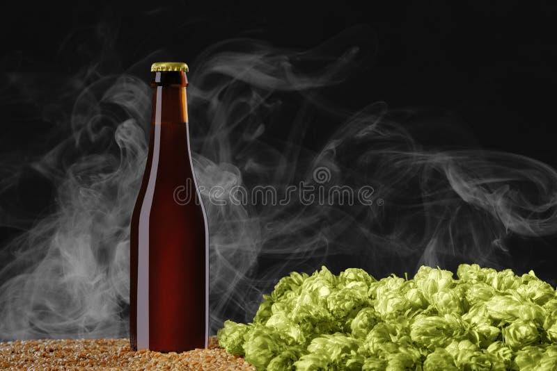 Garrafa de cerveja de Brown com reflexões que está no trigo e no cone do lúpulo em um fundo escuro do estúdio com fumo claro foto de stock royalty free