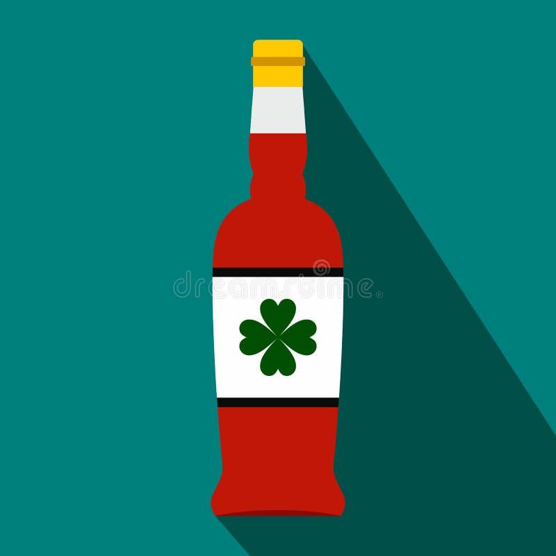 Garrafa de cerveja com um trevo no ícone liso da etiqueta ilustração stock