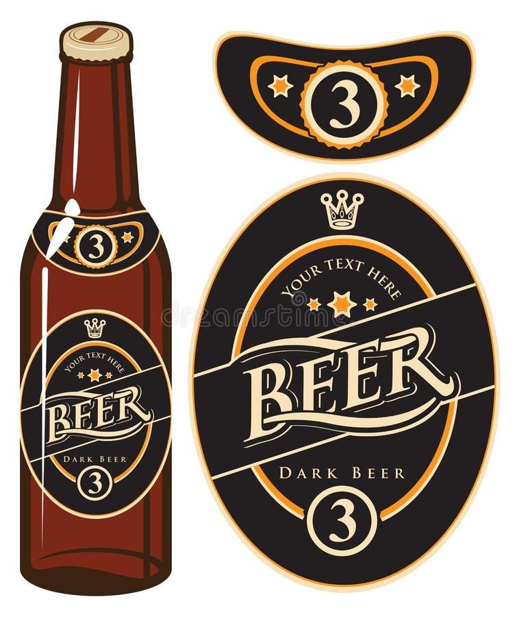 Garrafa de cerveja com uma etiqueta ilustração stock