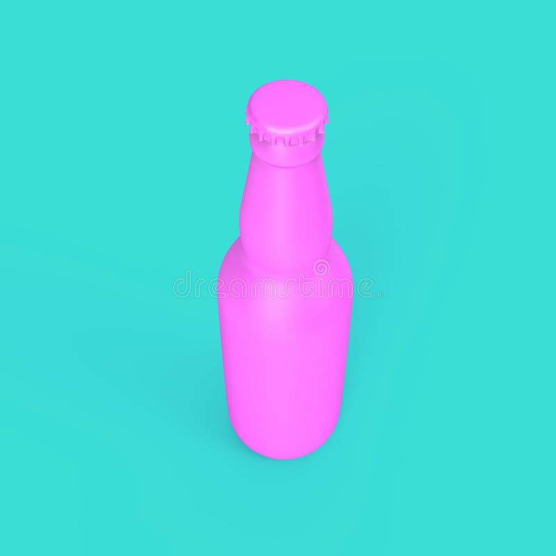 Garrafa de cerveja cor-de-rosa no fundo da cerceta ilustração royalty free