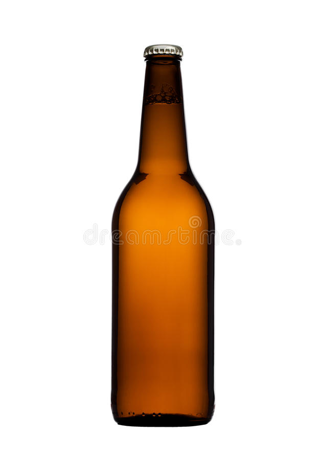 Garrafa de cerveja de vidro de Brown com o tampão amarelo isolado foto de stock