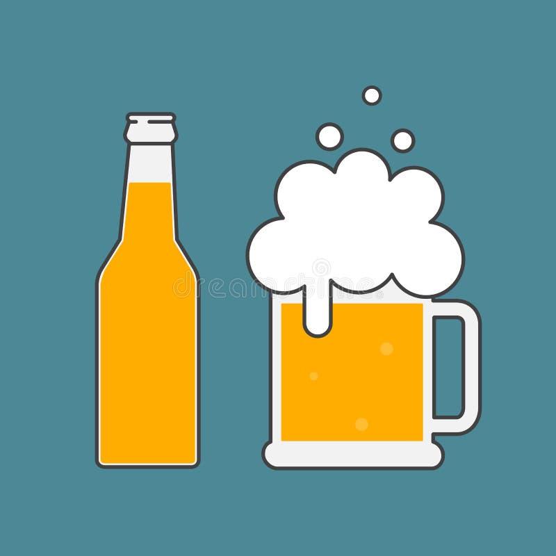 Garrafa de cerveja e vidro da cerveja ilustração royalty free