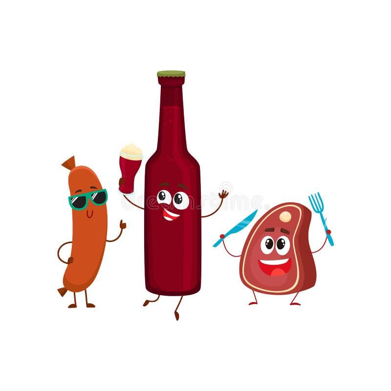 Garrafa de cerveja feliz, bife da carne, caráteres da salsicha de salsicha tipo frankfurter que têm o partido ilustração do vetor