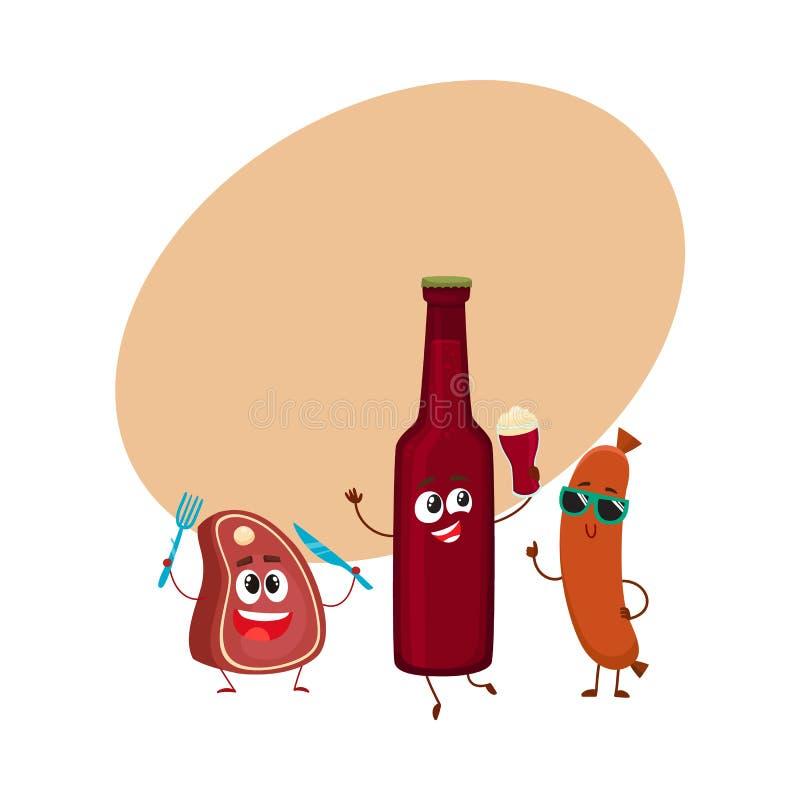 Garrafa de cerveja feliz, bife da carne, caráteres da salsicha de salsicha tipo frankfurter que têm o partido ilustração stock