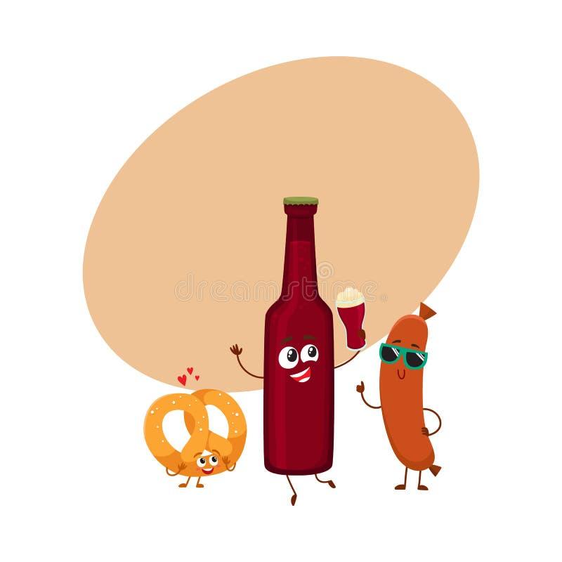 Garrafa de cerveja feliz, pretzel salgado, caráteres da salsicha de salsicha tipo frankfurter que têm o partido ilustração royalty free