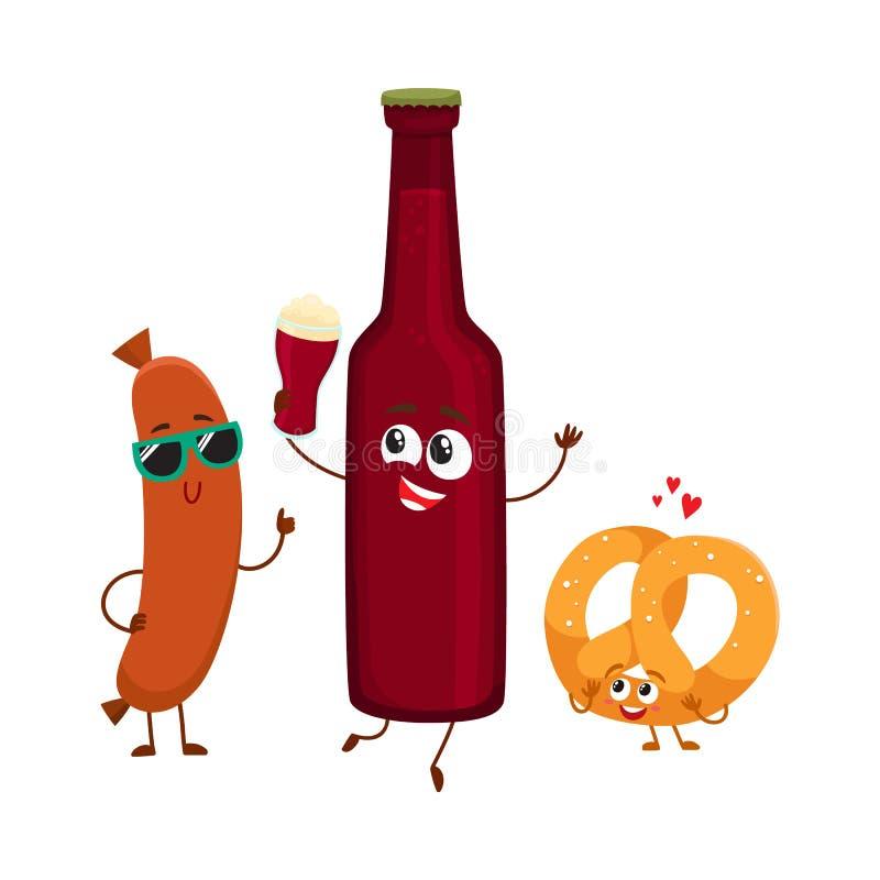Garrafa de cerveja feliz, pretzel salgado, caráteres da salsicha de salsicha tipo frankfurter que têm o partido ilustração stock