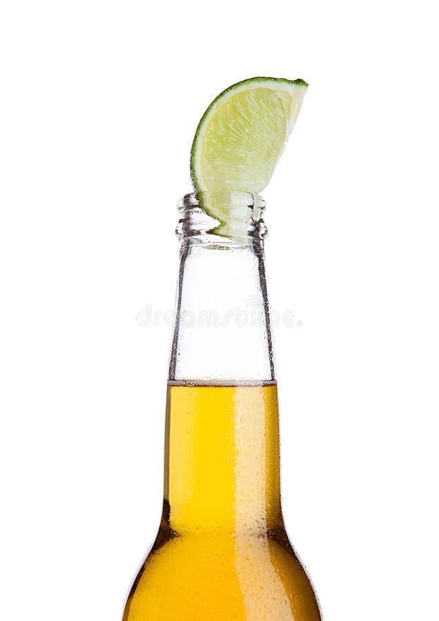Garrafa de cerveja mexicana com fatia e geada do cal foto de stock