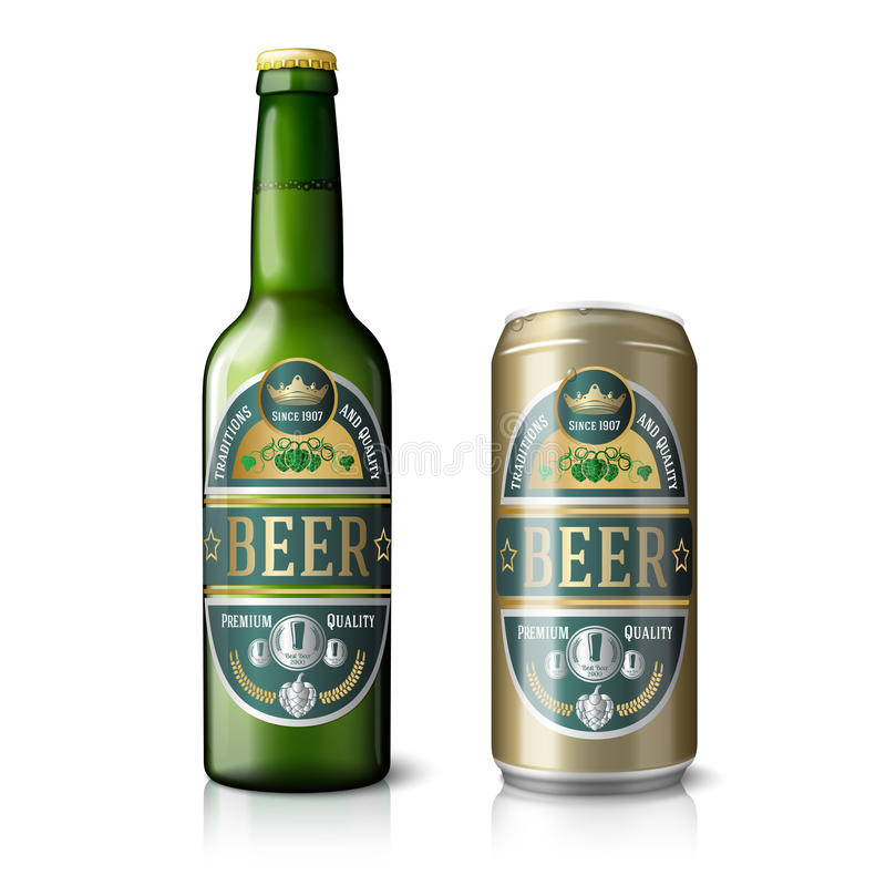 Garrafa de cerveja verde e lata dourada, com etiquetas ilustração do vetor