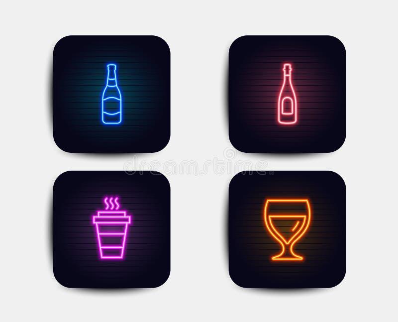 Garrafa de Champagne, de cerveja e ícones afastados Sinal do vidro de vinho Bebida da celebração, cervejaria, café para viagem Ve ilustração royalty free