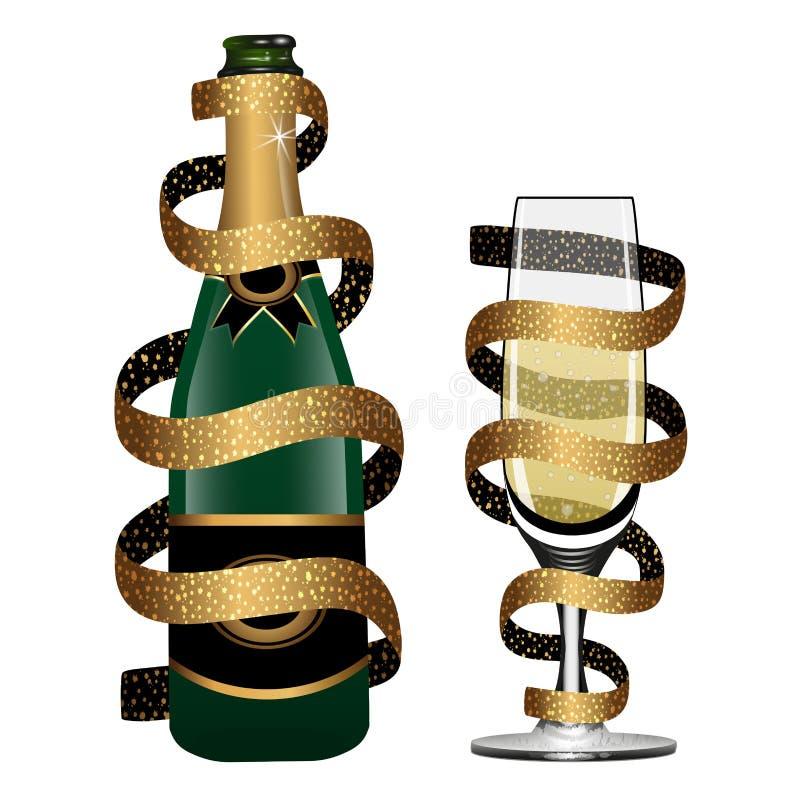 Garrafa de Champagne e vidro do vinho espumante cobertos pela fita dourada isolada no fundo branco Vetor ilustração royalty free