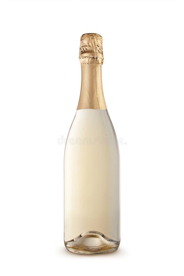Garrafa de Champagne isolada em um fundo branco fotografia de stock