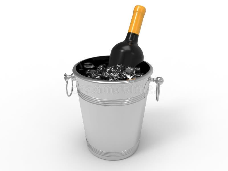 Garrafa de Champagne na ilustração do gelo ilustração stock