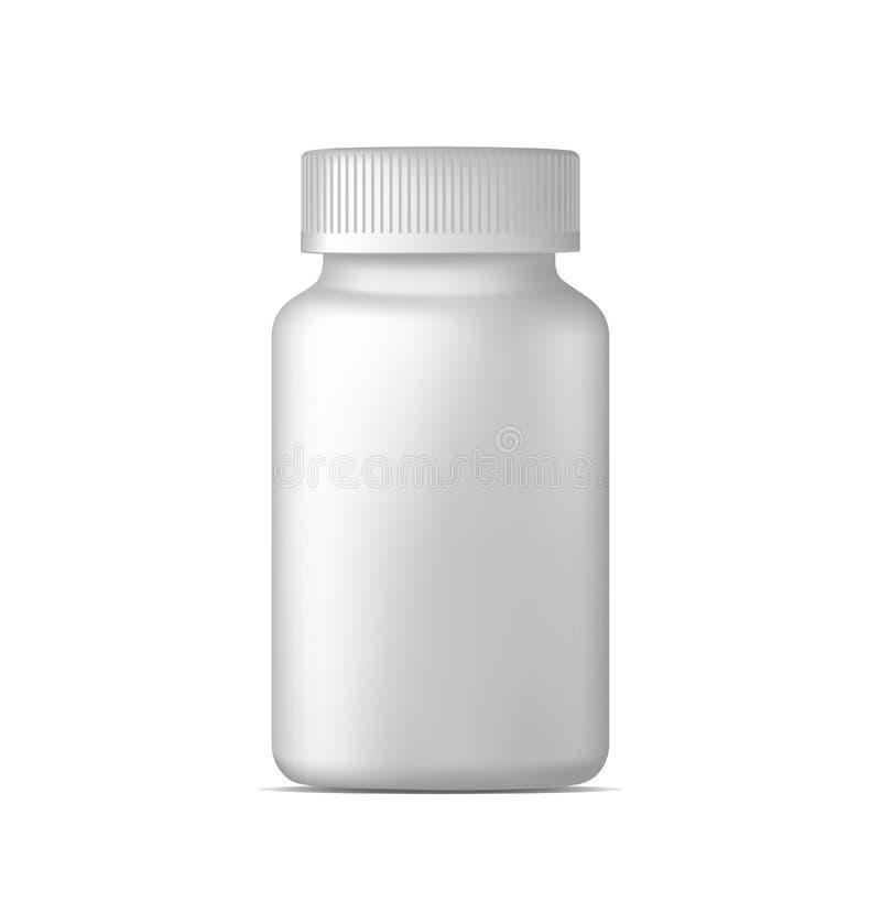 Garrafa de comprimido do vetor Recipiente plástico branco da medicina para drogas Esporte, saúde e suplementos nutritivos Zombari ilustração royalty free