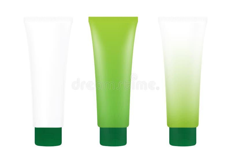 Garrafa de creme verde da espuma do tubo no fundo branco isolado, cosméticos, branco de creme do tubo do tratamento do tubo imagens de stock