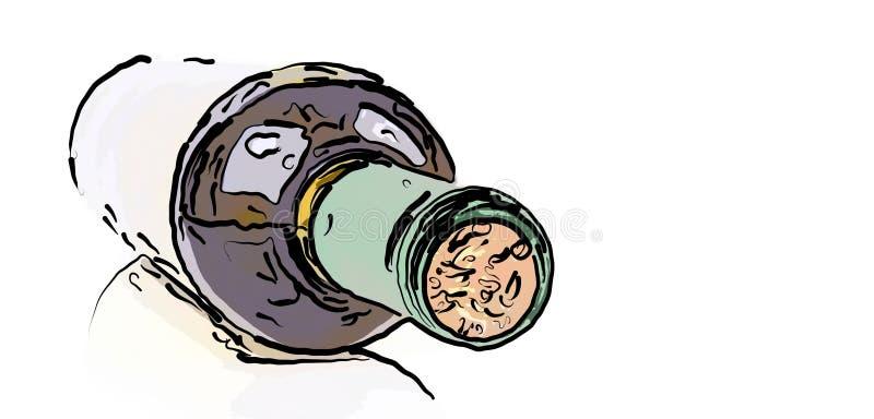 Garrafa de Dranw do vinho ilustração stock