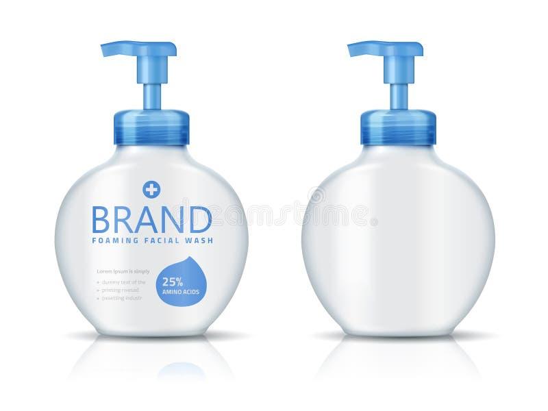 Garrafa de lavagem facial de formação de espuma ilustração royalty free