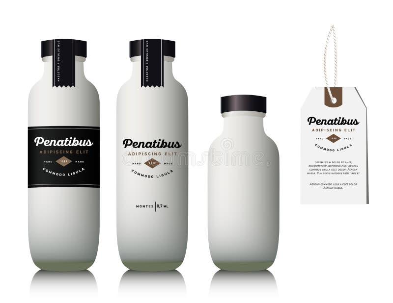 Garrafa de leite de vidro realística ilustração stock