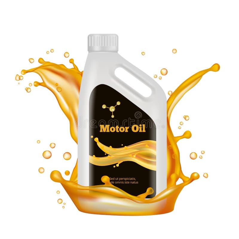 Garrafa de ?leo do motor O óleo do ouro do vetor espirra isolado no fundo branco ilustração stock