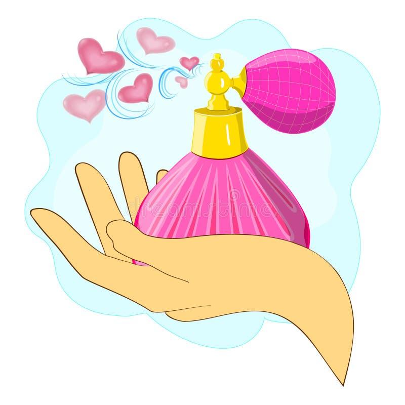 Garrafa de perfume à disposição, em um fundo branco ilustração do vetor