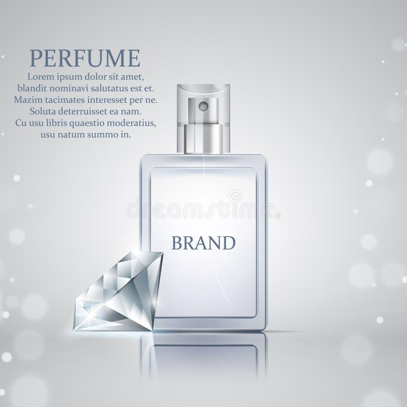 Garrafa de perfume de vidro realística com o diamante brilhante no sumário ilustração do vetor