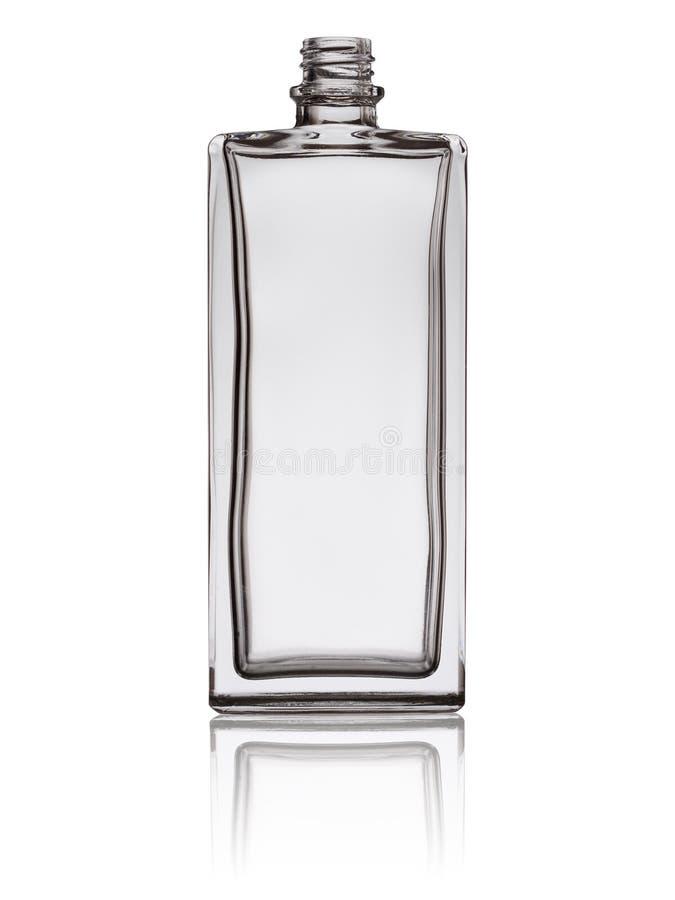 Garrafa de perfume de vidro vazia isolada em um fundo branco com reflexão fotos de stock royalty free