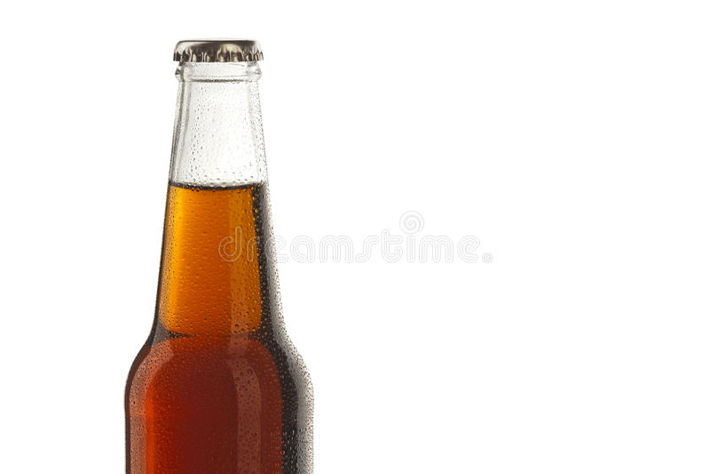 A garrafa de soda, bebida alcoólica com água deixa cair fotos de stock royalty free