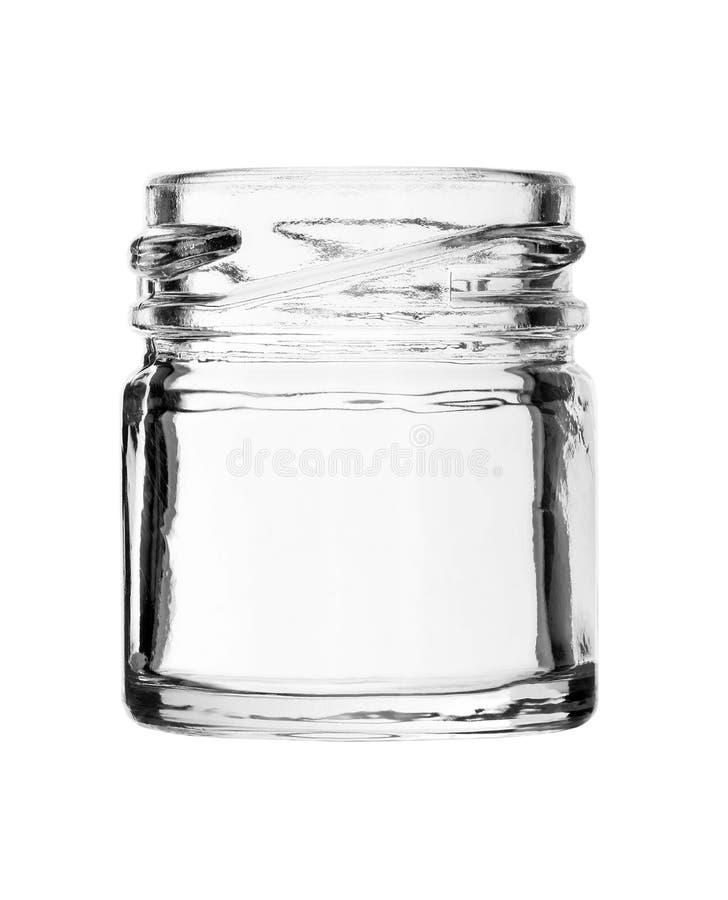 Garrafa de vidro da boca larga curto nenhum tampão isolado no backgroun branco foto de stock royalty free