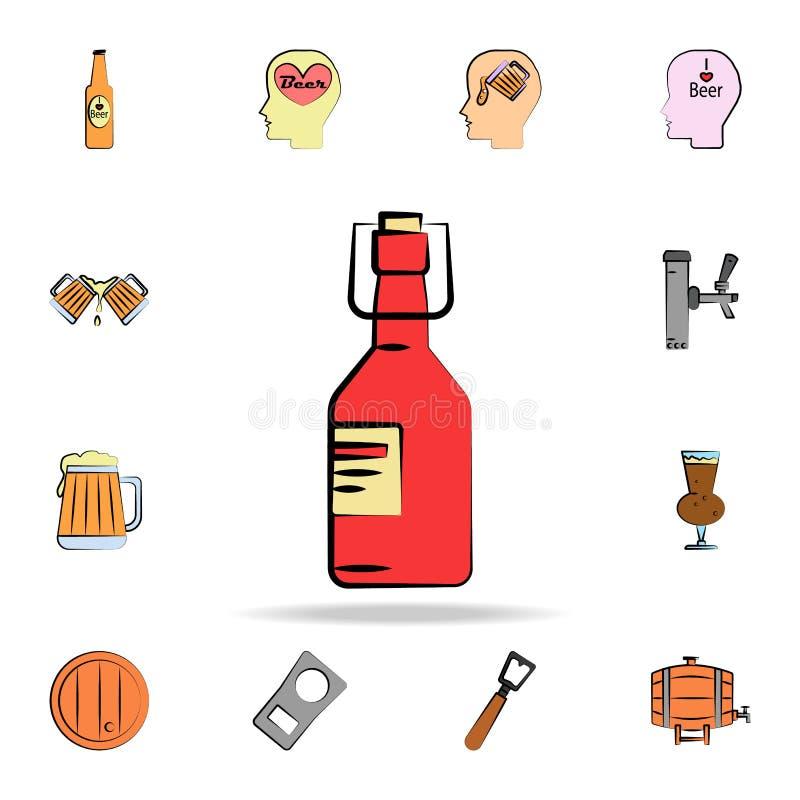 a garrafa de vidro da cerveja coloriu o ícone do estilo do esboço Grupo detalhado de ícones tirados do estilo da cerveja da cor à ilustração royalty free