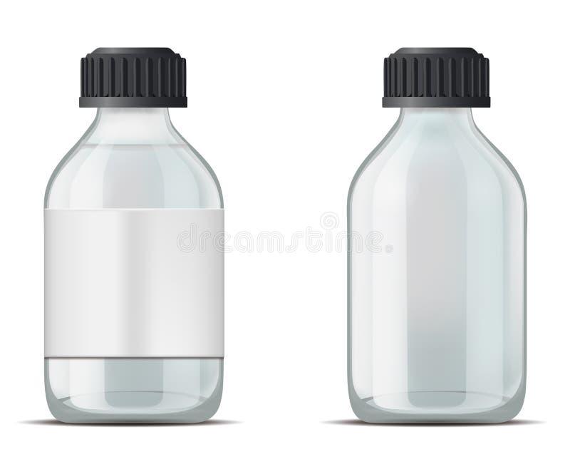 Garrafa de vidro da medicina com tampão ilustração royalty free