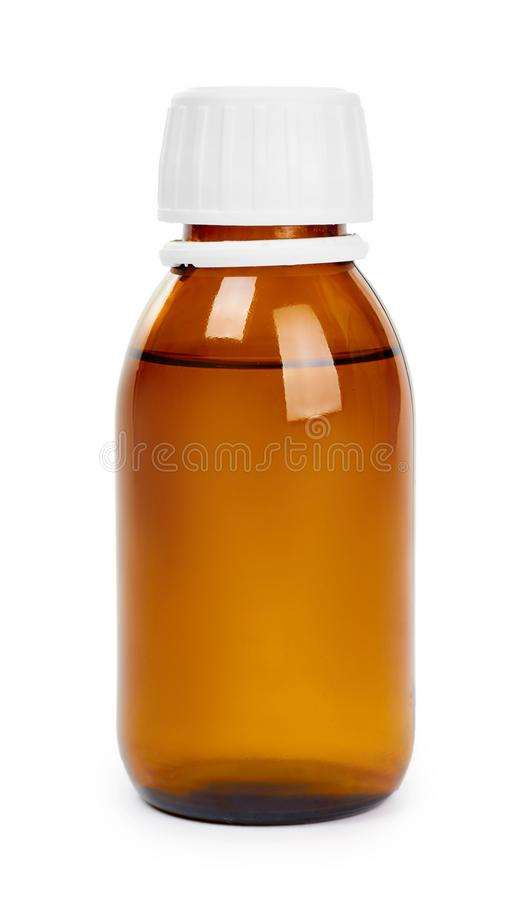 Garrafa de vidro da mistura do xarope Isolado no fundo branco fotos de stock royalty free