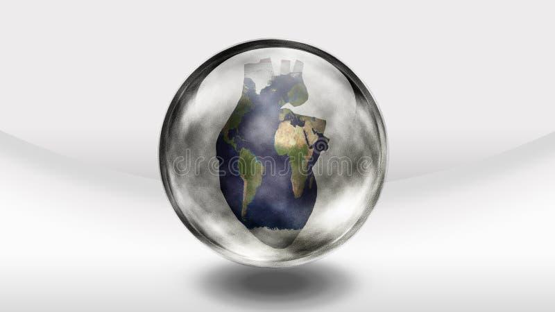 Garrafa de vidro da terra humana do coração ilustração stock