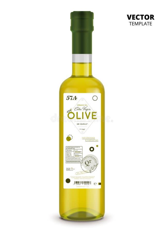 Garrafa de vidro do azeite virgem extra orgânico ilustração stock
