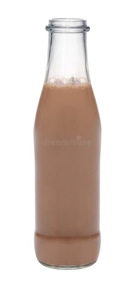 Garrafa de vidro do leite de chocolate foto de stock royalty free