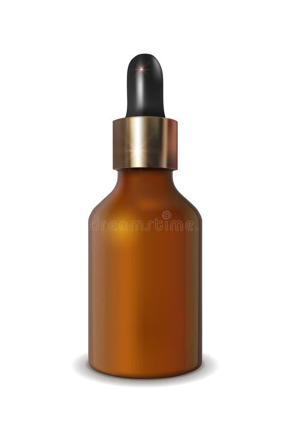 Garrafa de vidro do vetor realístico com o conta-gotas para cosméticos e medicinas ilustração do vetor