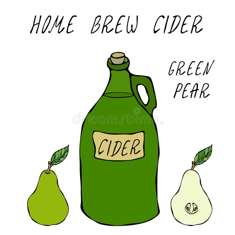 Garrafa de vidro do vintage da cidra verde da pera Fruta vermelha da maçã Fermentação home outono ou coleção vegetal da colheita  ilustração do vetor