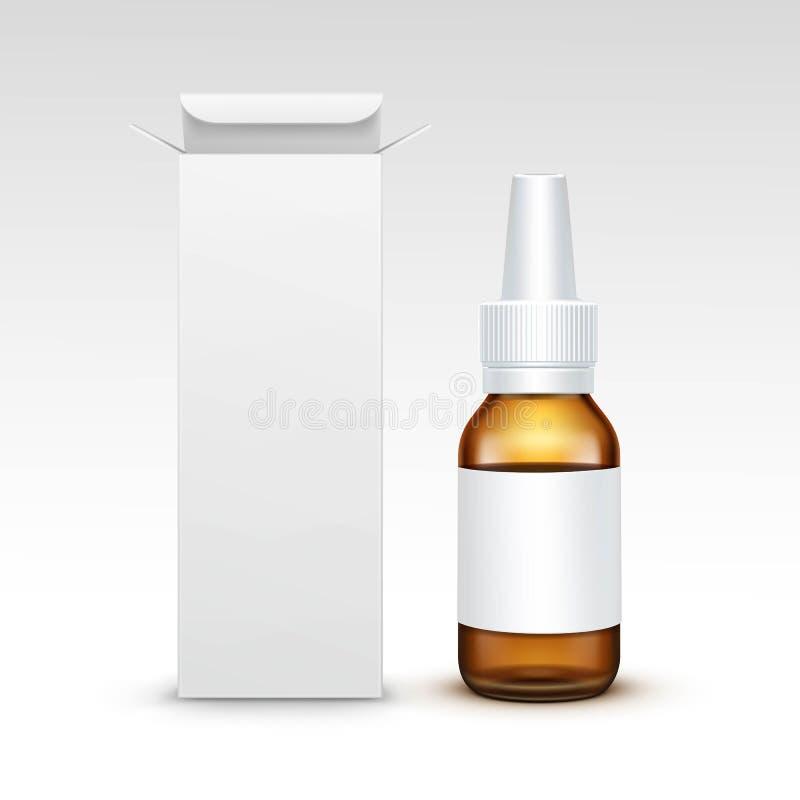 Garrafa de vidro médica do pulverizador da medicina vazia do vetor ilustração stock