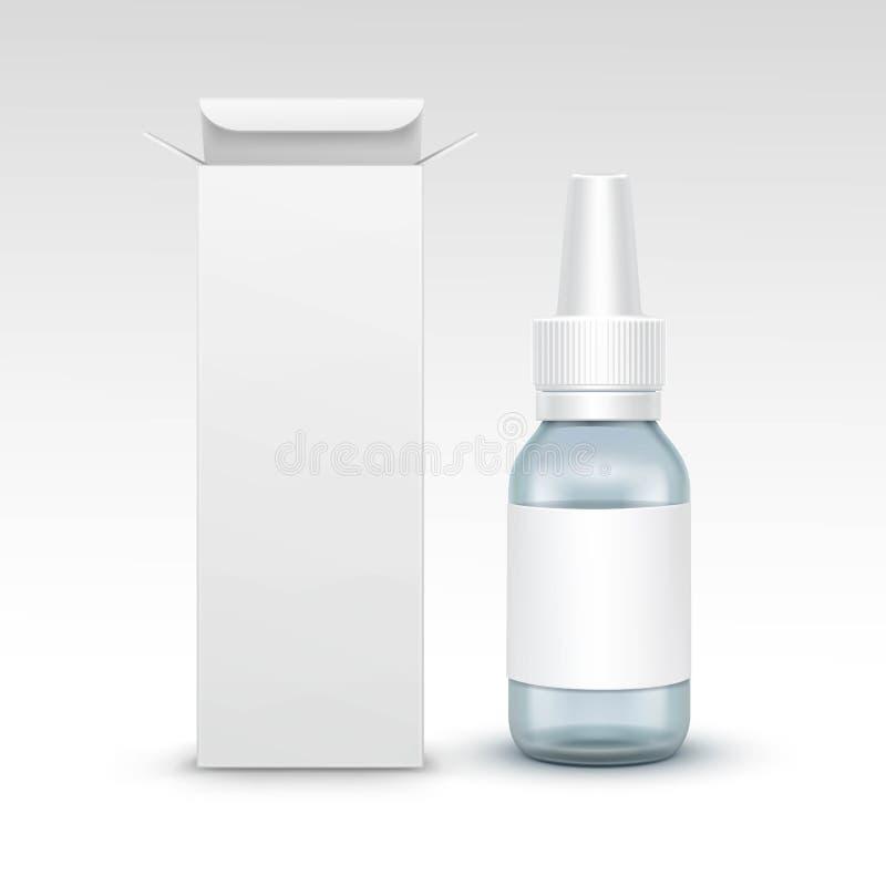 Garrafa de vidro médica do pulverizador da medicina vazia do vetor ilustração royalty free