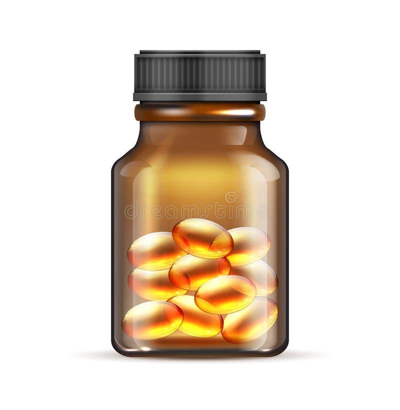 Garrafa de vidro marrom realística com óleo de peixes, ômega 3 cápsulas da vitamina isoladas no fundo branco ilustração stock