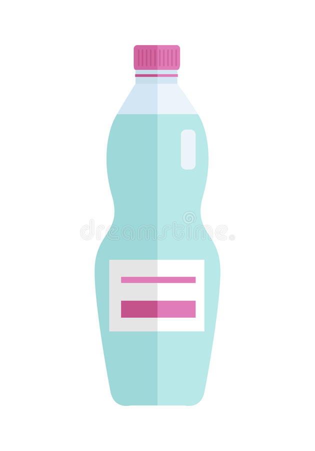Garrafa de vidro ou plástica com a bebida azul doce ilustração stock