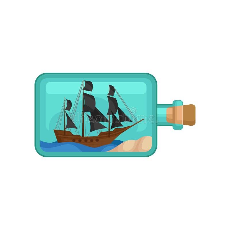 Garrafa de vidro transparente com água, a areia e o navio de madeira para dentro Embarcação marinha com velas pretas Projeto liso ilustração do vetor